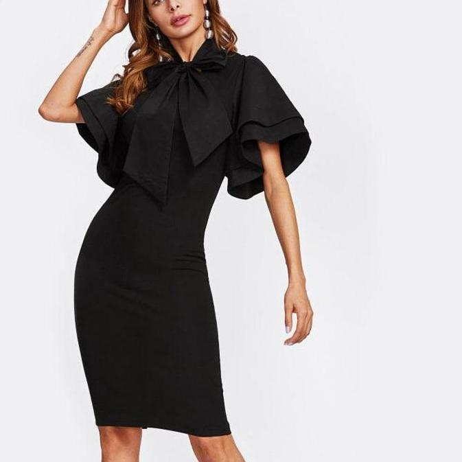 2018 Black Fashion Stand Collar Short Sleeve Elegant Party Dress