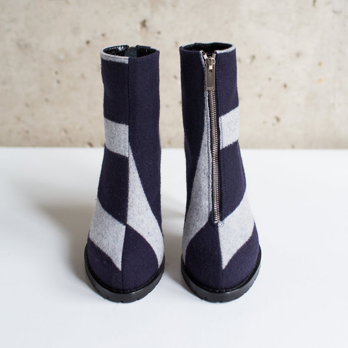 SACAI MISMATCHED STRIPED ANKLE BOOT