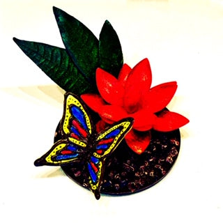 chocolate flower with chocolate butterfly