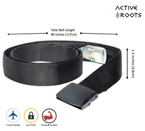 Active Roots Security Belt specs, showing that it is travel-friendly, anti-theft, strong and durable. The belt is 46 inches long and 1.5 inches wide.