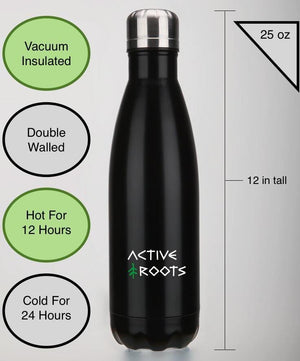 Insulated water bottle image describing all the features of the bottle; vacuum insulated, double walled, keep liquids hot for 12 hours and cold for 24 hours. Bottle holds 25 ounces.