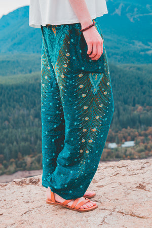 Green Peacock Harem Pants Women