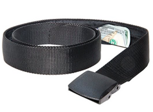 Active Roots Security Belt showing money stuffed in the hidden pocket.