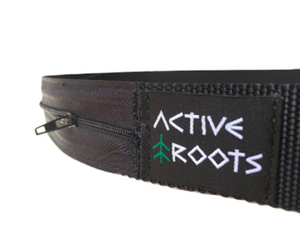 Sewn on Active Roots logo on the nylon security belt.