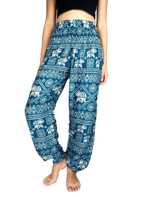 Teal Elephant Harem Pants