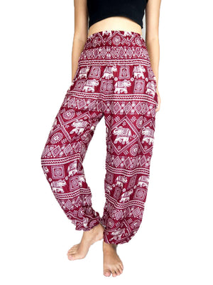Racy Red Elephant Harem Pants
