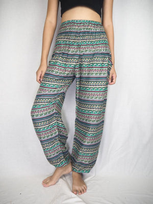 Green goddess stripe harem pants
