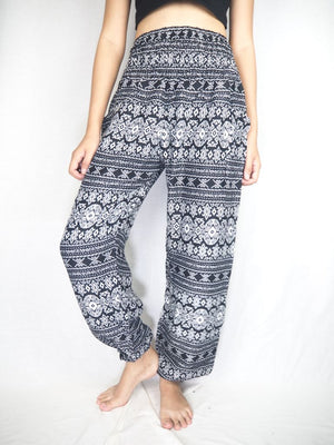 Black Stripe Harem Pants Women