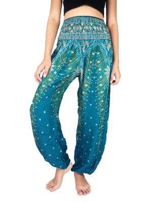 Green Gemini Peacock harem pants