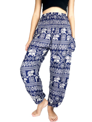 Navy Blue Elephant Harem Pants