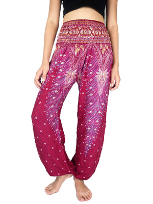 Red Peacock Harem Pants Women