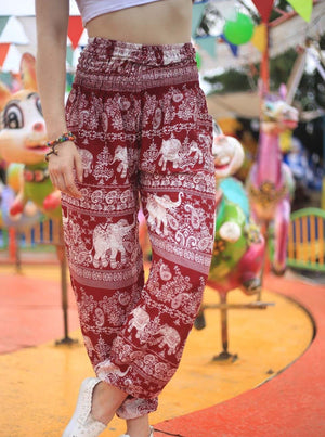 Red Paisley Elephant Pants