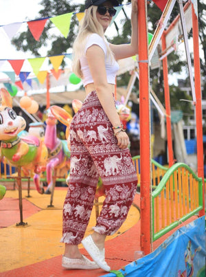 Red Paisley Harem Elephant Pants