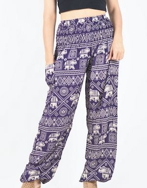 Purple Harem Elephant Pants