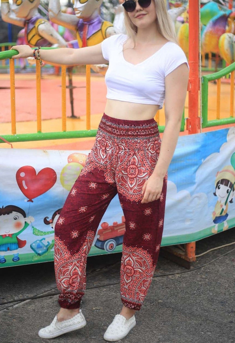 Red Rose Harem Pants