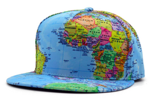 A blue world map snapback hat with various colored countries.