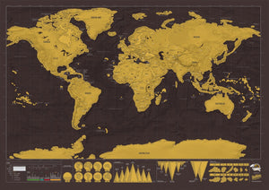 World Scratch Map - Active Roots Blue XL Microfiber Towel