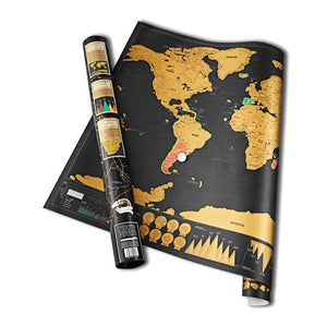 Black and gold world scratch map reveals multi-colored countries when scratched off.