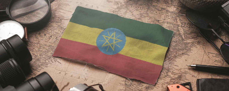 Ethiopian flag and map