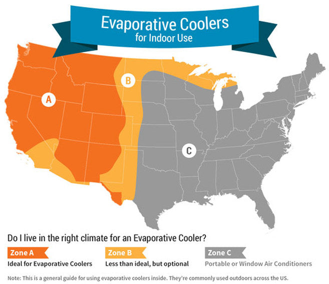 Evaporative Cooler Regions by Sylvane.com