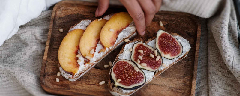 Peaches, figs, pine nuts