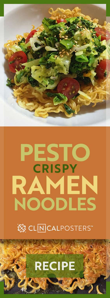 Crispy Pan Fried Ramen Pesto Salad