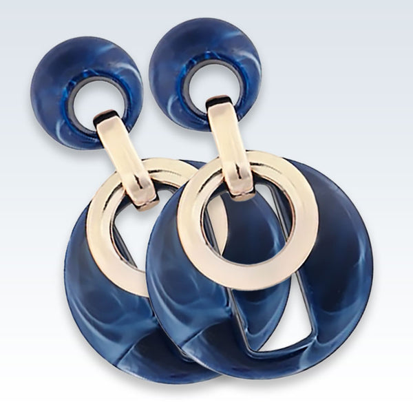 Acrylic Blue Circle Drop Earrings Detail