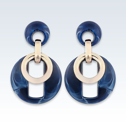 Acrylic Blue Circle Drop Earrings