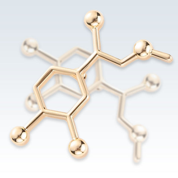 Adrenaline Molecule Gold Lapel Pin Detail