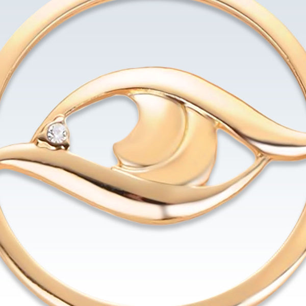 Gold Eye Lapel Pin Detail