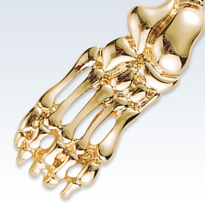 Anatomical Foot Bones Gold Lapel Pin Detail
