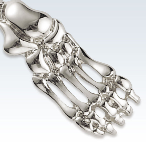 Anatomical Foot Bones Silver Lapel Pin Detail