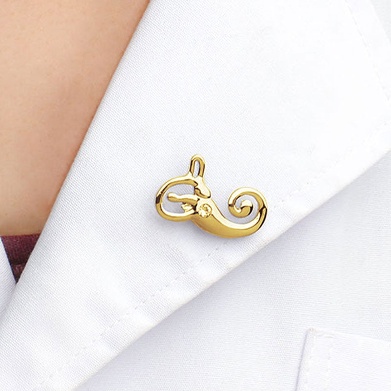 Wearing Inner Ear Gold Lapel Pin