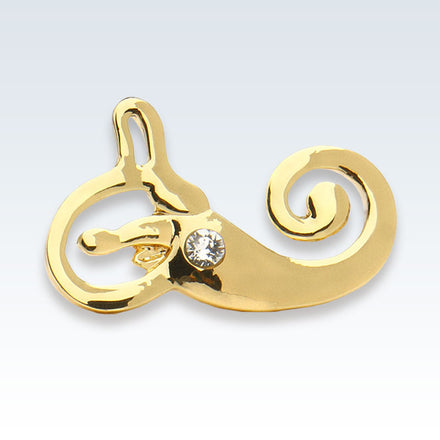 Anatomical Inner Ear Gold Lapel Pin