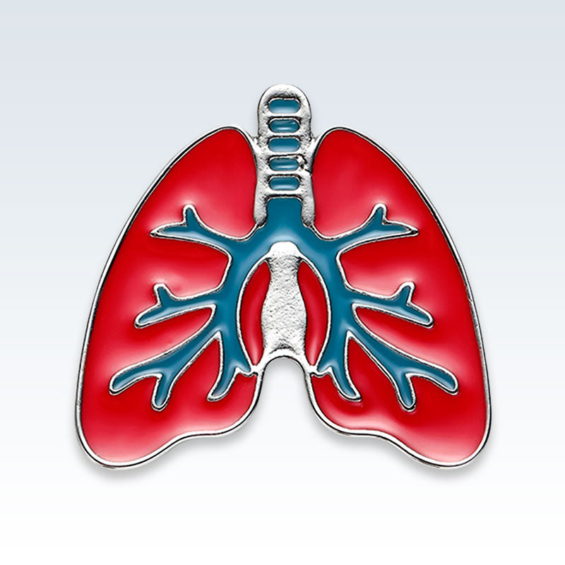 Anatomical Lungs Red Metal Lapel Pin