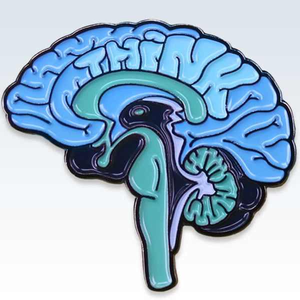 Anatomical Blue Brain Lapel Pin Detail