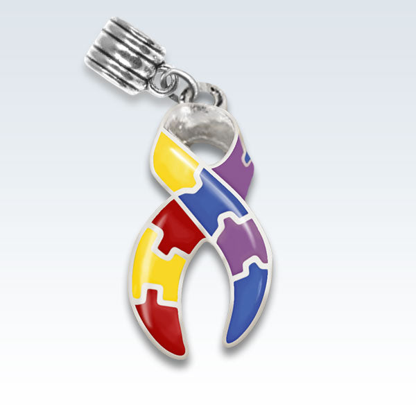 Autism Awareness Ribbon Metal Charm