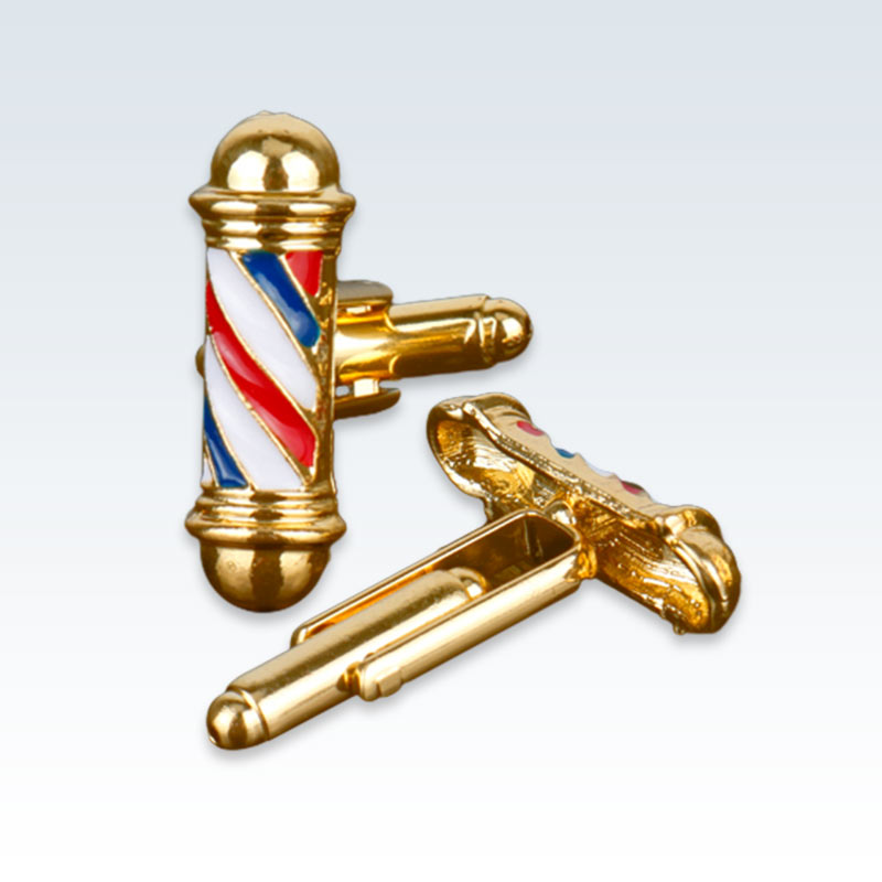Gold Barbers Pole Cuff Links
