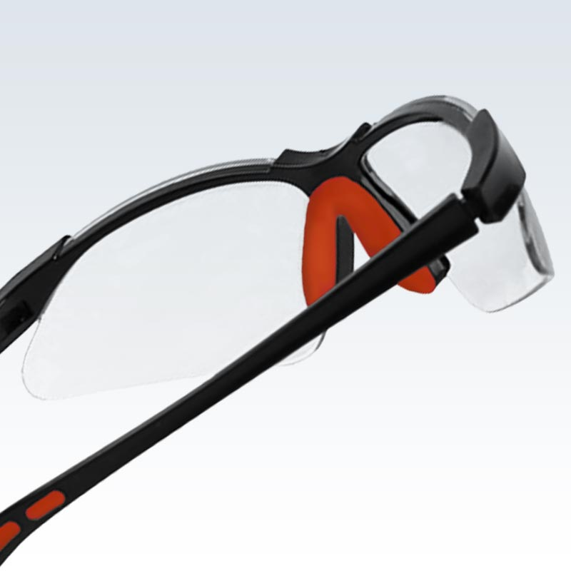 Black and Red Safety Glasses Detail
