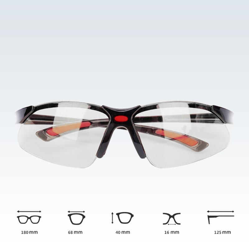 Black and Red Safety Glasses Dimensions