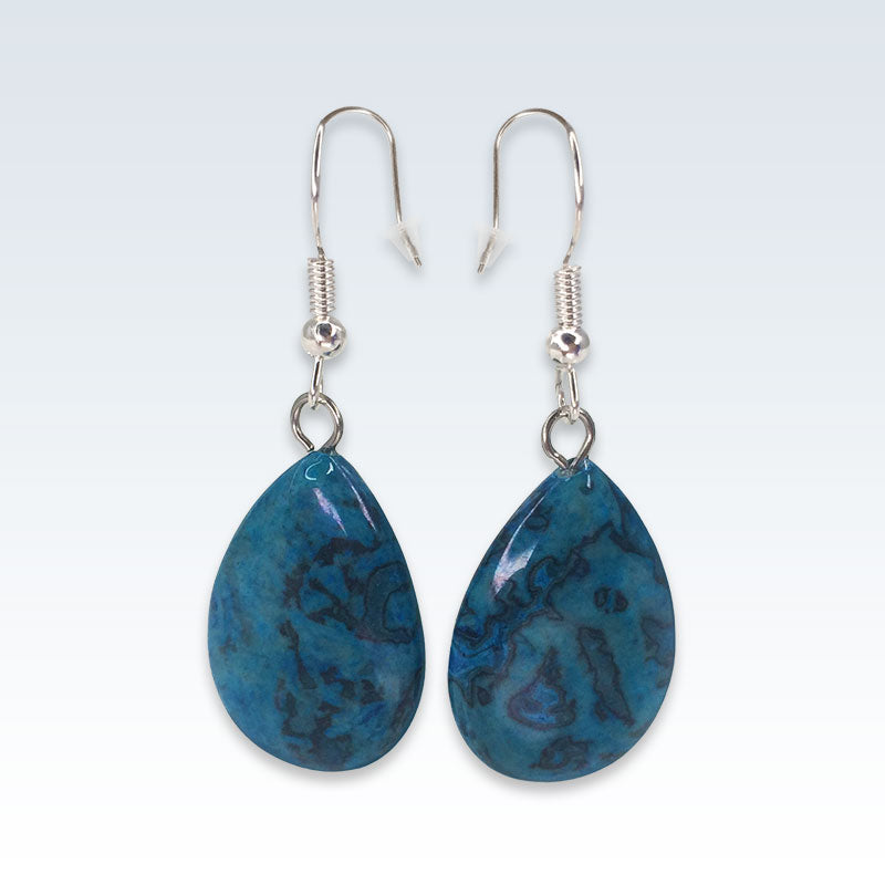 Onyx Blue Teardrop Stone Earrings