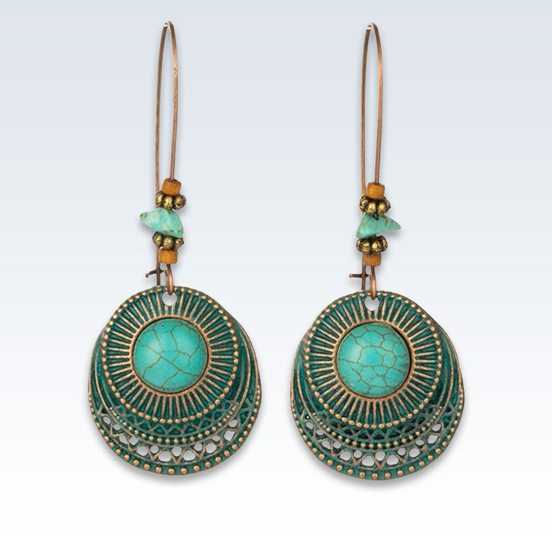 Bohemian Hollow Green Circles Earrings