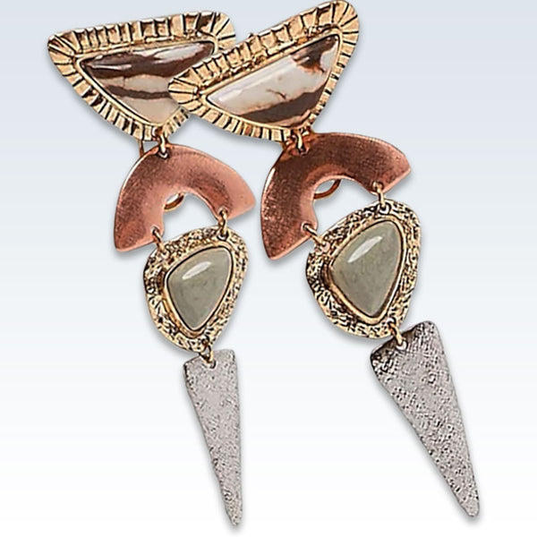 Bohemian Copper Stone Earrings Detail