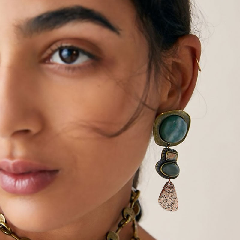 Wearing Bohemian Natural Stone Asymmetric Earrings