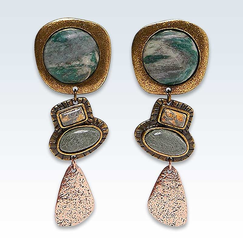 Bohemian Natural Stone Asymmetric Earrings