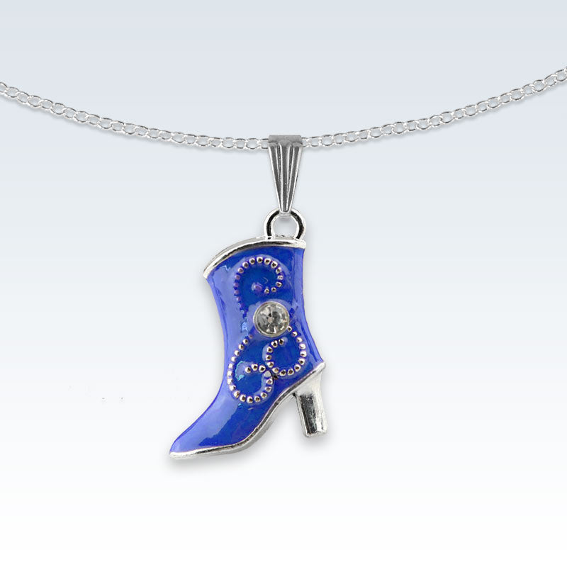 Blue Boot Enameled Metal Necklace