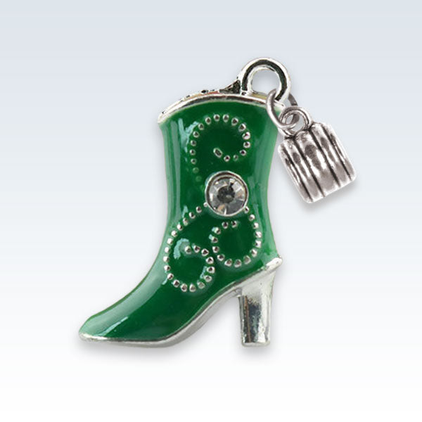Enameled Boot Charm Green