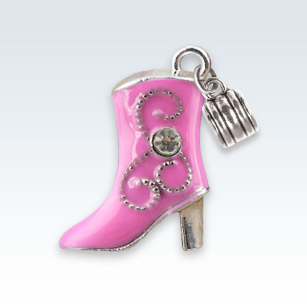Enameled Boot Charm Pink