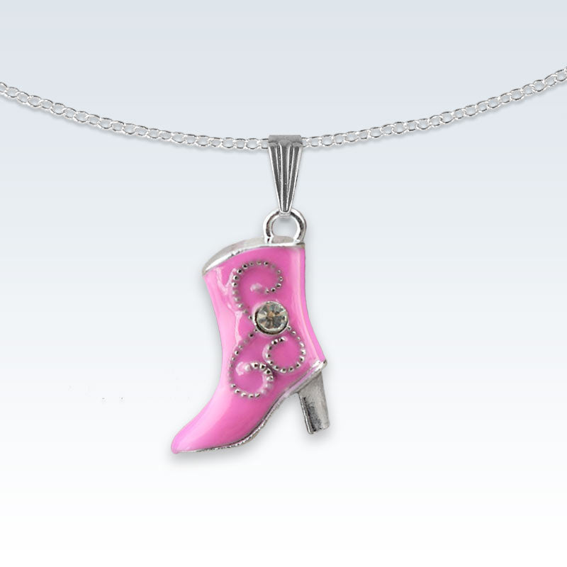 Pink Boot Enameled Metal Necklace