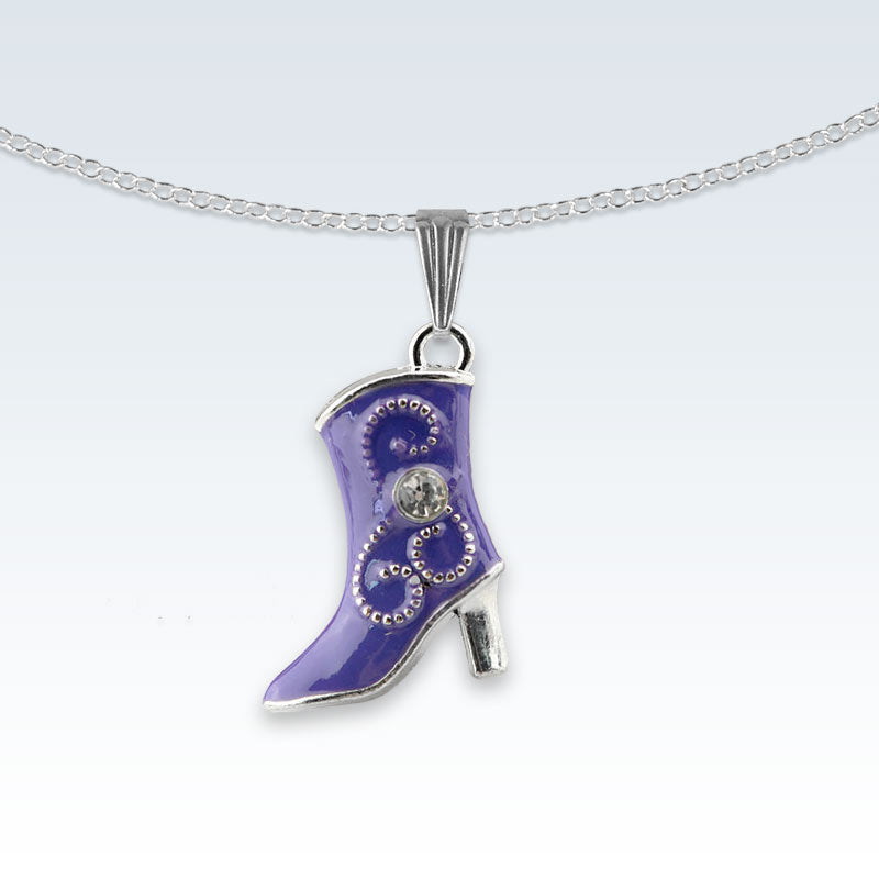 Violet Boot Enameled Metal Necklace